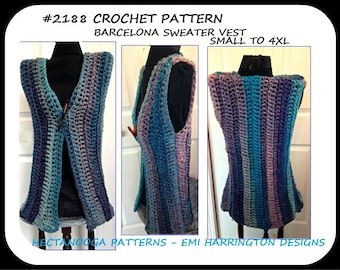 CROCHET VEST PATTERN, Women and teens, Plus size, extended plus size, Quick and easy crochet pattern, # 2188, crochet clothing for women