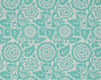 Fabric by the Yard - Blockprint Blossom in Aqua by Joel Dewberry