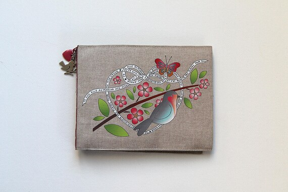 "Photo album red illustrated linen throat and cherry blossom ""for you my love"""