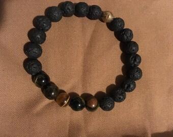 "Stretch bracelet five stone tigers eye/lava 8mm 7"""