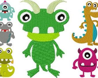 4x4 hoop SET little monsters Machine Embroidery Design File, digital download