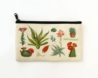Succulents Zip Pouch,Pencil Case,Cactus Makeup Bag,Cactus lover gift,Succulent Wedding,Palm Springs Style