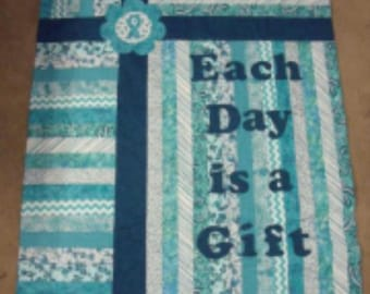 KIT - Each Day is a GIFT Quilt TOP Ovarian Cancer kit