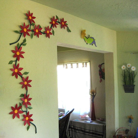 Large Metal Wall Art Flower Vine Sculpture Climbing Trailing