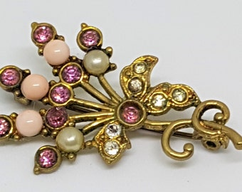 Vintage flower brooch, crystal shawl pin, pearl scarf pin, gold tone sweater pin, vintage lapel pin, 1950s vintage broach