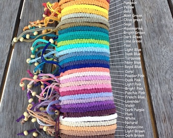 Handmade Hemp Friendship Bracelet/anklet/wristband - Square or Twisted Macrame Knot - 36 colours!