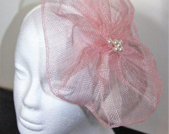 SALE - Pale pink flower fascinator, floral fascinator, wedding fascinator, pink hairband, pink headband, flower hairband, flower headband