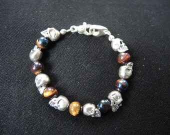 Handcrafted 8 Skully Bracelet Combined with Falcon-eye Beads