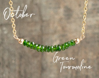 Green Tourmaline Necklace, Healing Crystal Necklace, Gemstone Jewelry, Gift for Her, Verdalite, Dainty Jewelry, October Birthstone Necklace