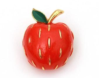Napier Apple Pin, Red Enamel Apple Brooch, Teacher Present, Vintage Napier Pin, Red Apple Pin, Vintage Teacher Gift, Shiny Red Apple Brooch