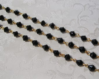 """One Meter 39.5"""" Faceted Black Bicone Glass 6mm Beaded Rosary Chain Gold 982"""