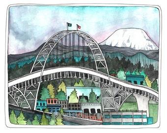 Art - Portland Art - Portland Oregon Art Print - Portland Illustration - 405 Bridge - Portland Bridge Art - Print of Watercolor - 405 Birdge
