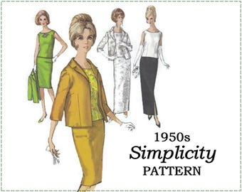 1950s Sewing Pattern - Simplicity 5206 - Skirt, Overblouse, Blouse, Jacket - Size 14 Bust 34 - Evening Suit, Wiggle Skirt, Bracelet Sleeve