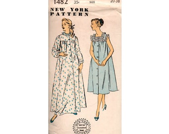 New York 1481 Womens Nightgowns Nightdress 50s Vintage Sewing Pattern Size 20 Bust 38 inches UNUSED Factory Folded
