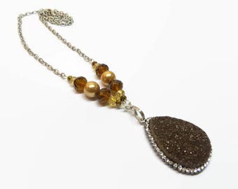 Brown Druzy Necklace, Boho Druzy Pendant Necklace, Brown Boho Chic Necklace, Teardrop Druzy Necklace, Natural Stone Necklace