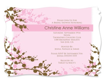 Cherry Blossom Invitation - Printed Party Invites with Envelopes for a Bridal Shower Party - Set of 12