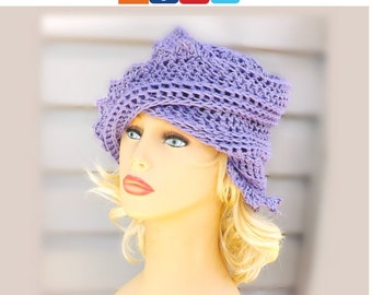 Summer Crochet Beanie Hat for Women, Summer Hat Crochet Hat, Crochet Beanie Summer Beanie, Cotton Beanie Amethyst Purple Hat, Lauren Hat