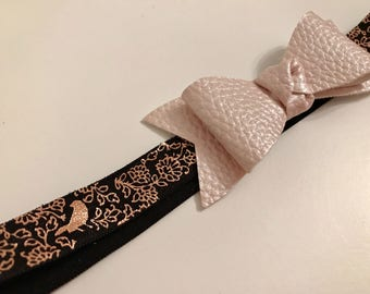 Leather bow metallic bird elastic headband