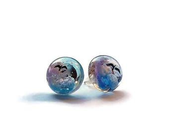 small earrings/epoxi resin/clouds and swallows