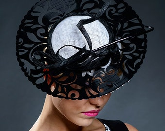 Black and white haute couture hat for Derby, Ascot, church or other special occasions.
