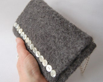 Felted Wool clutch Purse heathered grey vintage mother of pearl buttons