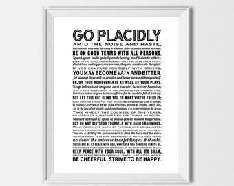 Desiderata Print, Desiderata Download, Inspirational Downloadable Prints, Desiderata Poem, Motivational Gift, Housewarming Gift, Go Placidly