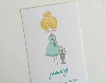 2018 Calendar, monthly calendar, whimsical calendar, digital art