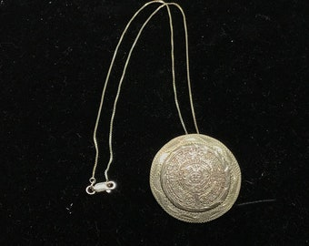 Vintage TAXCO EME Sterling Silver 925 Aztec Mayan Calendar Pendant Brooch with Sterling Chain MARKED