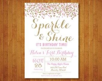 Sparkle and Shine Birthday Invitation. Pink and Gold Birthday. Confetti. Gold Glitter Glam Birthday Invite. Girl Bday. Printable Digital.