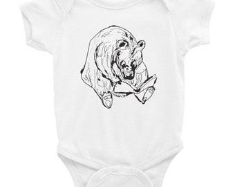 Reading Bear Infant Bodysuit NB to 24mo for boys and girls Bears and Reading Children Book hand drawn bear sketch
