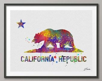 California poster California print watercolor California decor wall art hanging California art poster California print wall decor