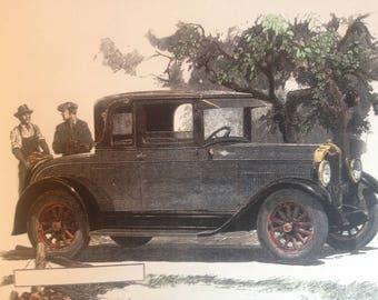 Antique Coop Car Apple Picking hand colored vintage print