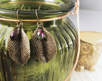 Antique Brass Leaf Earrings with Faceted Briolettes
