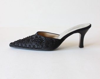 Vintage 1990s Black Beaded Satin High Heel Mules, size 6