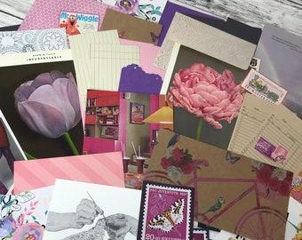 Purple Junk Journal Kit, Vintage Book Pages, Vintage Ephemera, Pink Ephemera, Vintage Papers, Cardstock, Liliac, Floral Paper Kit