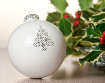 Christmas bauble with stitched Tree graphic, Big Christmas Decoration