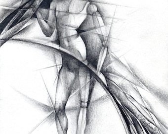 """Abstract pencil drawing original - figurine drawing - """"Hinges"""", surrealism, paper"""