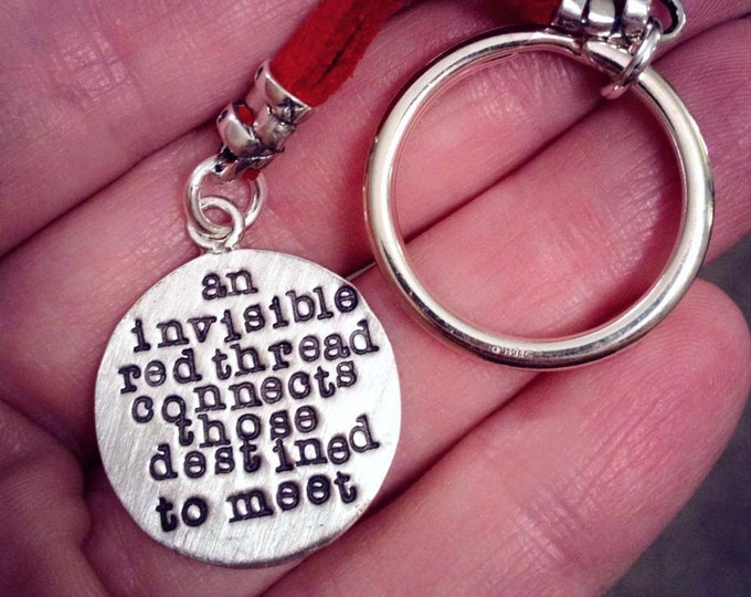 An Invisible Red Thread...an Adoption Keychain - Solid Sterling Silver & Leather - Hand Stamped - Customizable - Add Name Charm