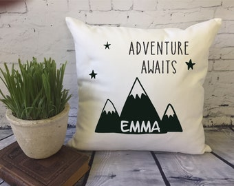 adventure awaits throw pillow, baby shower gift, nursery decor, baby throw pillow, decorative throw pillow, personalized baby gift