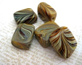 Mocha Swirl Rectangular Ceramic Beads 5 Count