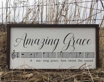 Amazing Grace Hand Painted and Stained Wood Frame Sign.