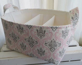 Ex Large Diaper Caddy, Fabric Basket bin with adjustable and removable dividers 14 x 10 x 7
