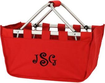 Monogrammed Market Tote | Personalized Market Tote | Picnic Basket | Toy Basket | Collapsible Folding Basket Red Market Basket Large