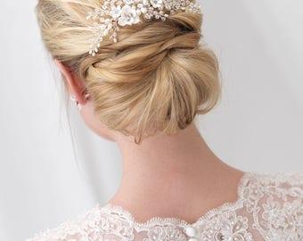 Floral Bridal Hair Comb, Flower Side Comb, Pearl Hair Comb, Crystal Hair Comb, Wedding Hair Comb, Rhinestone Hair Comb, Hair Clip ~TC-2291