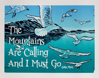 The Mountains Are Calling Linocut Reduction Print