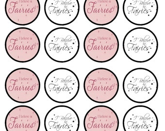 I Believe In Fairies Edible Wafer Rice Paper Cake Cupcake Toppers x 24