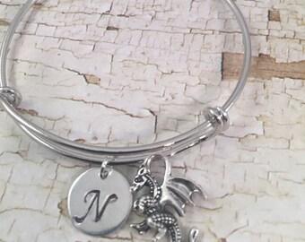 Little Girl bracelet, charm bracelet, personalized initial charm bracelet, dragon charm bracelet, little girl jewelry, dragon charm