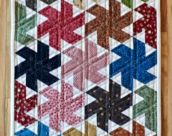 quilt, quilting, sewing, fabric, wall hanging, table mat, civil war reproduction, multicolor, pinwheel, handcrafted