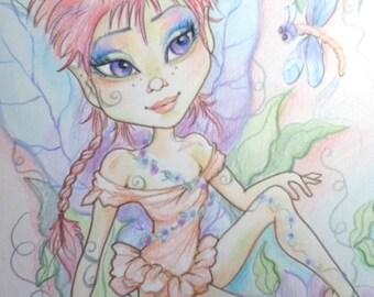 Fairy Waiting In The Garden Big Eye Fantasy Pastel Art Print