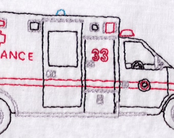Ambulance Hand Embroidery Pattern, First Responder, EMT, Medical, Bus, Emergency, PDF